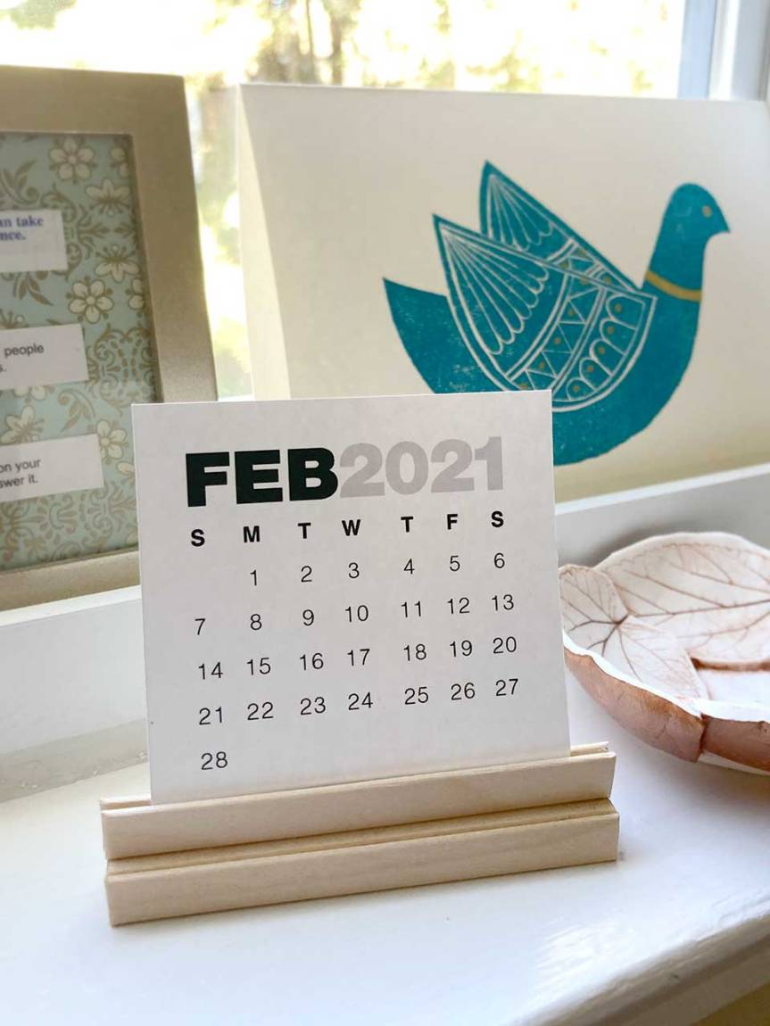 A Mini Calendar Stand + Printable: 2021 Update